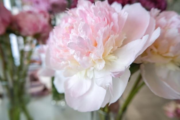 Magasin de fleurs avec de belles fleurs de vacances. grosses pivoines pour un gros plan de bouquet.