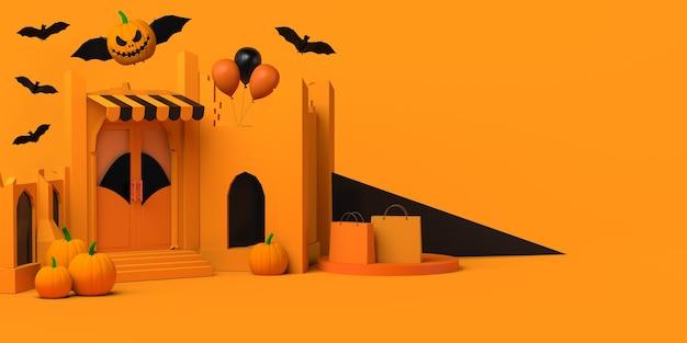 Magasin d'halloween avec ruines et citrouille chauve-souris. espace de copie. illustration 3d.