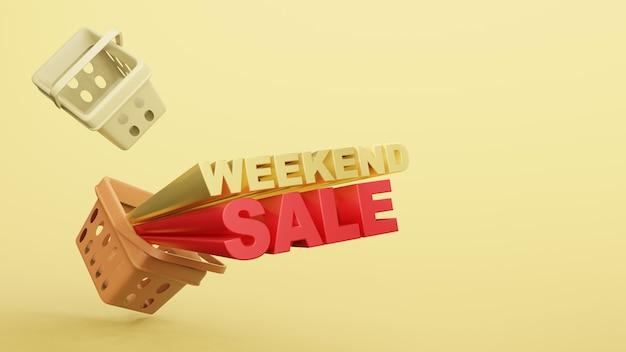 Magasin en plastique de panier vide avec le rendu 3d de vente de week-end de libellé.