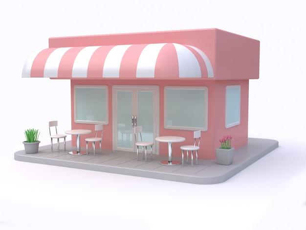 Magasin rose bâtiment style dessin animé fond blanc rendu 3d