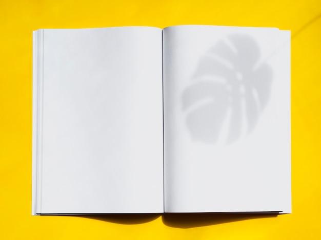 Magazine maquette vue de dessus avec fond jaune