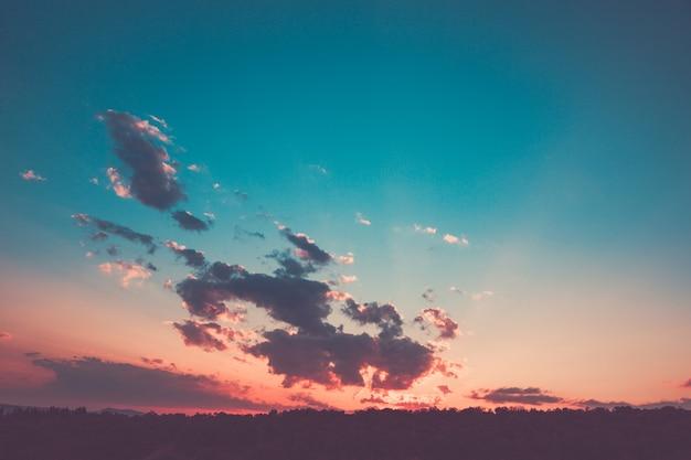 Magnifique coucher de soleil rose sur la forêt avec des nuages et une percée des rayons du soleil.