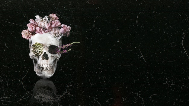 Magnifique crâne floral sur fond noir