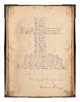 Magnifique écriture ancienne. poème de pâques manuscrit en forme de croix. fond de papier vintage