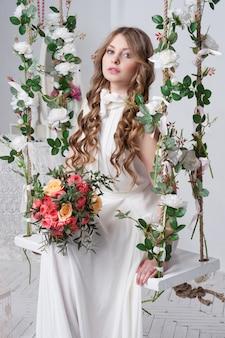 Magnifique mariée avec fleurs