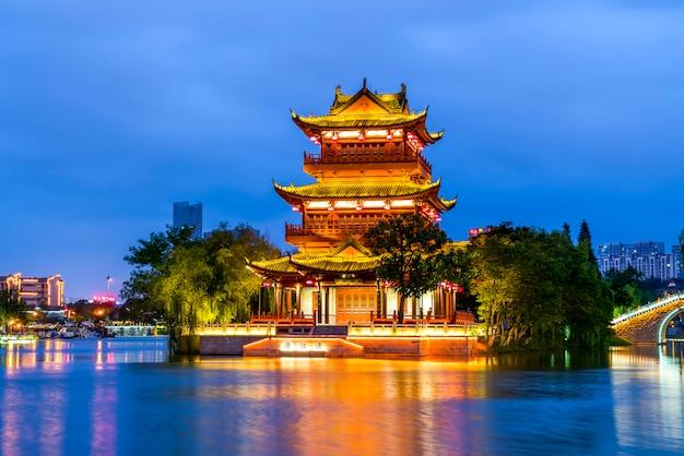 Le magnifique paysage de l'architecture ancienne à huaian, zhejiang, chine