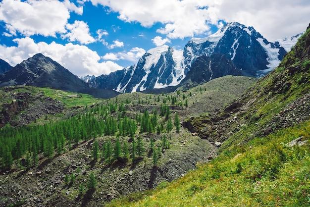 Magnifiques montagnes enneigées géantes en journée ensoleillée.