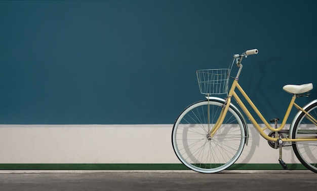 Maid bicycle ou city bike parking contre le mur. journée sans voiture. véhicule écologique. protection de l'environnement et réduction du concept de carbone. scène en plein air. lumière du jour