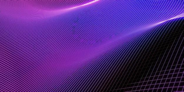 Maille vague structure courbe fond violet et bleu dégradé macro image 3d illustration