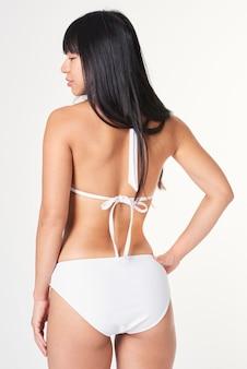 Maillot de bain femme bikini blanc deux pièces