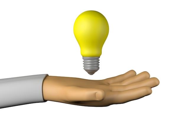 Main avec ampoule jaune. idée. illustration 3d.