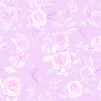 Main aquarelle florale dessinée avec motif sans soudure de fleurs et de pétales