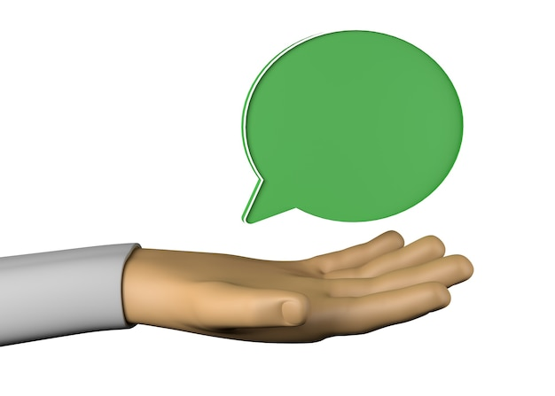 Main avec ballon de message. service de messagerie. illustration 3d.