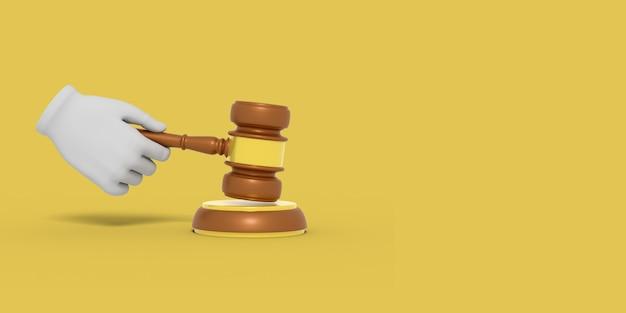 La main de bande dessinée tient le marteau d'un juge. illustration sur fond de couleur. rendu 3d.