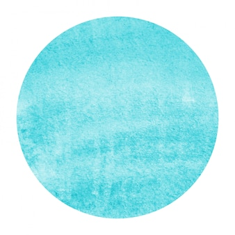 Main bleu clair dessiné texture d'arrière-plan aquarelle cadre circulaire avec des taches
