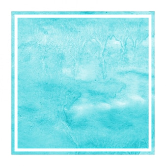 Main bleu clair dessiné texture d'arrière-plan aquarelle cadre rectangulaire avec des taches
