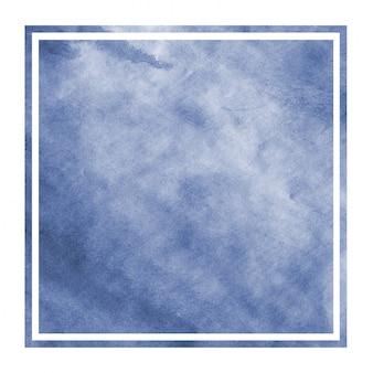 Main bleu foncé dessiné texture d'arrière-plan aquarelle cadre rectangulaire avec des taches
