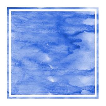 Main bleue dessiné texture d'arrière-plan aquarelle cadre rectangulaire avec des taches