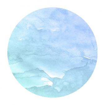 Main bleue froide dessiné texture d'arrière-plan aquarelle cadre circulaire avec des taches
