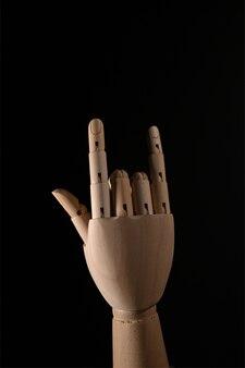 Main en bois je t'aime symbole signe.
