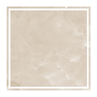 Main brune dessiné texture d'arrière-plan de cadre rectangulaire aquarelle avec taches