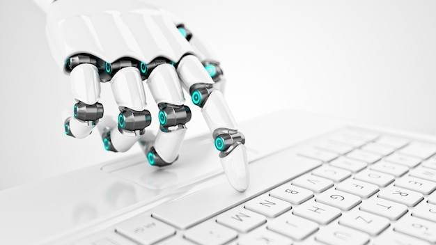 Main de cyborg blanc futuriste appuyant sur une touche d'un clavier