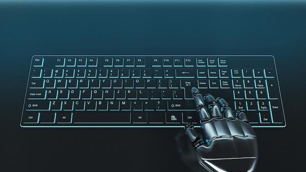 Main de cyborg gris futuriste appuyant sur une touche sur un clavier