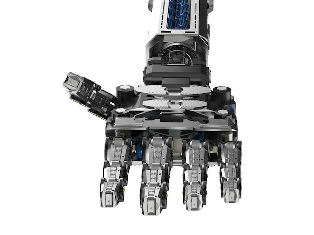Main de cyborg de rendu 3d ou main robotique isolée sur blanc