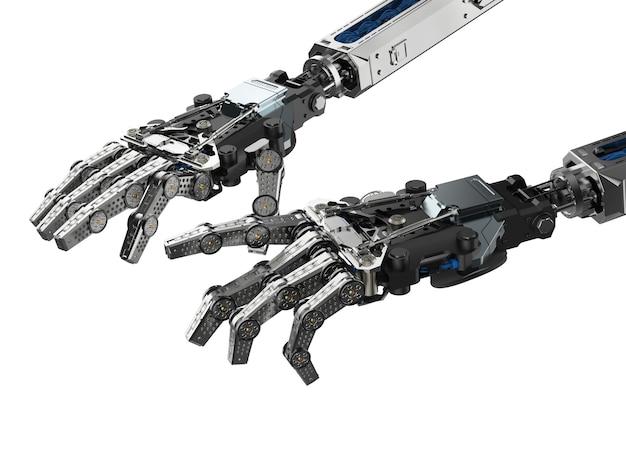 Main de cyborg de rendu 3d en tapant ou en jouant le geste de piano d'isolement sur le blanc