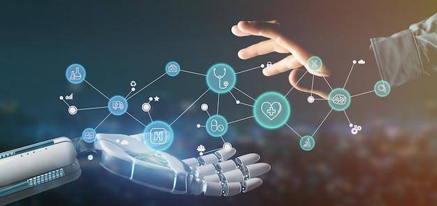 Main de cyborg tenant une icône médicale et rendu 3d de la connexion