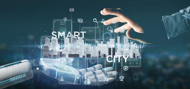 Main cyborg tenant l'interface utilisateur de la ville intelligente avec icône, statistiques et données, rendu 3d