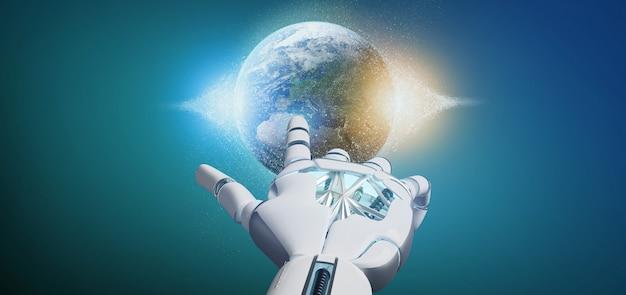 Main de cyborg tenant un rendu 3d de la terre globle de particules