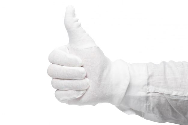 La main dans un gant blanc isolé sur fond blanc. un geste accrocheur. gesticulation