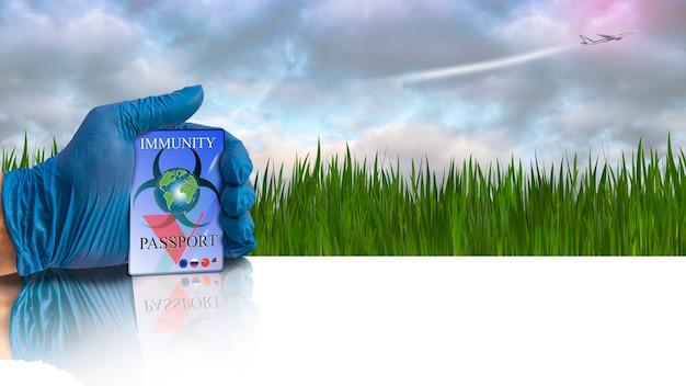 Une main dans un gant médical détient un passeport d'immunité l'herbe verte et un avion volant dans le ciel