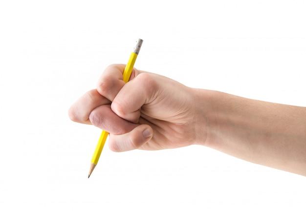 Main déformée au crayon en blanc