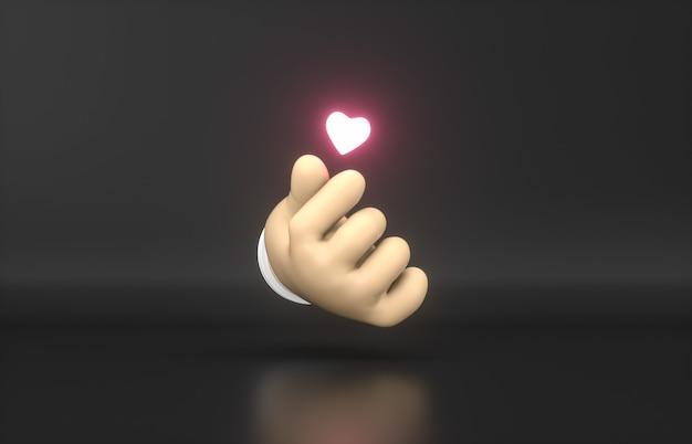 Main de dessin animé 3d abstrait avec icône néon mini coeur.