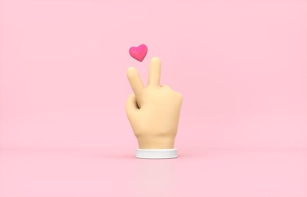 Main de dessin animé 3d avec icône mini coeur sur fond isolé rose.