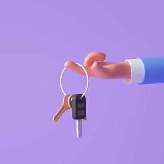 Main de dessin animé 3d tenant les clés sur fond violet. illustration de rendu 3d