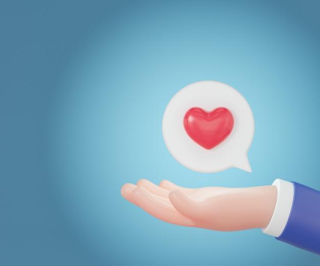 Main de dessin animé 3d tenant un coeur rouge avec une bulle blanche. rendu d'illustrations 3d.
