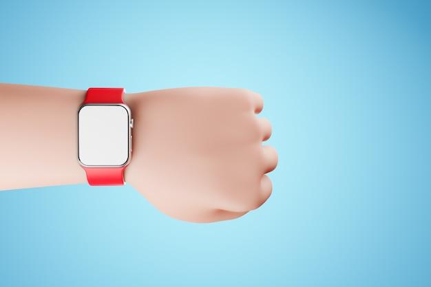 Main de dessin animé avec montre intelligente à bracelet rouge sur fond bleu gadget avec écran blanc vide