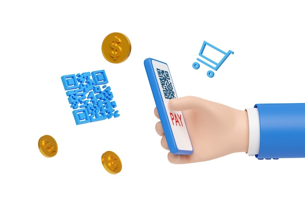 Main de dessin animé payant avec un téléphone portable et un code qr isolé.