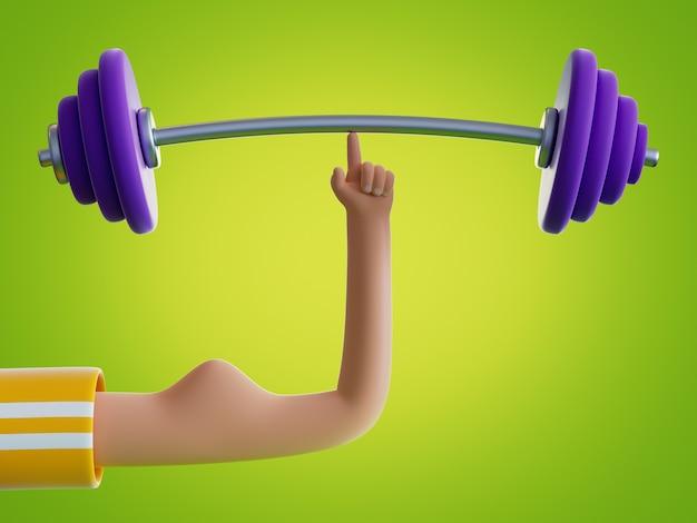 La main de dessin animé de rendu 3d tient la barre avec un doigt isolé sur fond vert