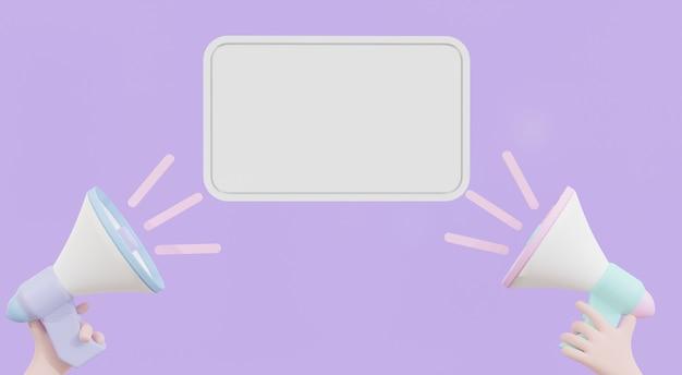 Main de dessin animé tenant des informations de poste, mégaphone annonce un mégaphone de signe de bannière de notification avec bulle de dialogue sur fond violet avec espace de copie. illustration 3d