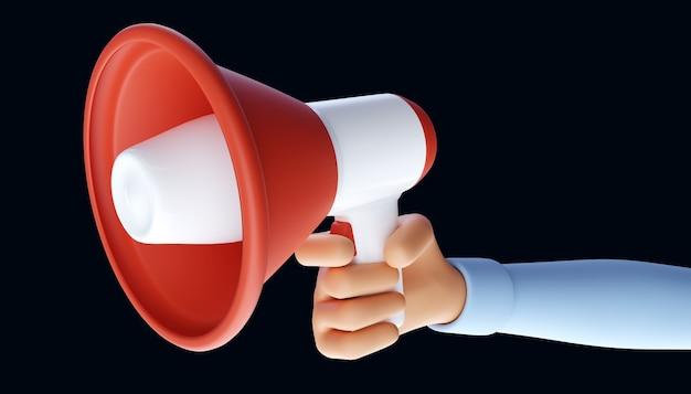Main de dessin animé tenant le mégaphone. symbole de publicité et de promotion. illustration 3d