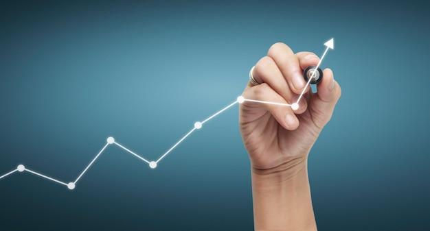 Main, dessiner un graphique, stock graphique de croissance