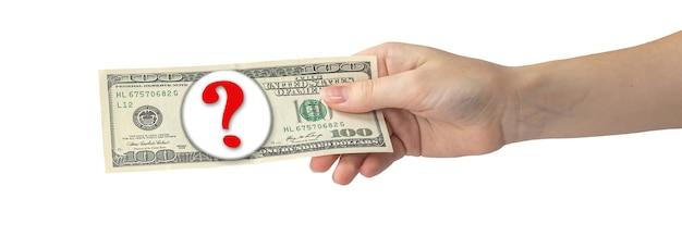 Main avec des dollars, argent isolé sur fond blanc, bannière. concept de donner ou de dépenser de l'argent, gagner de l'argent. symbole de question sur les billets de banque