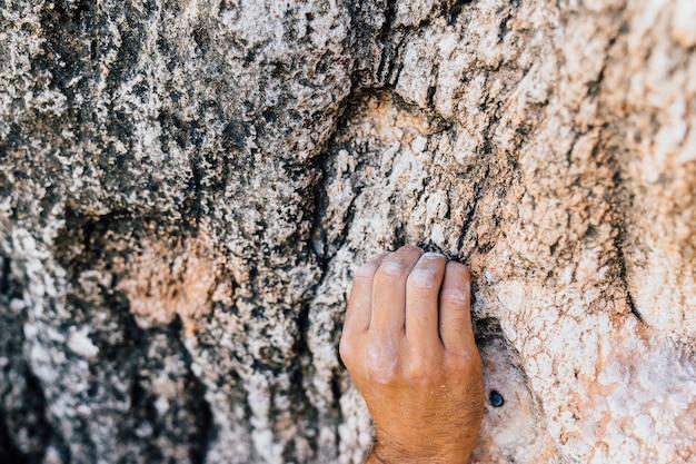 Main du grimpeur au rocher
