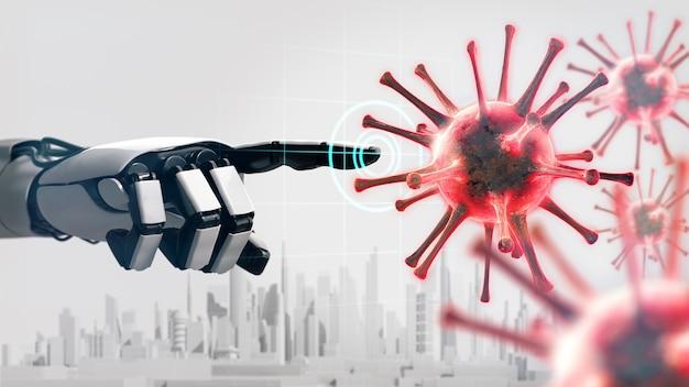 La main du robot pointant sur la cellule du coronavirus