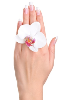 Une main féminine avec fleur