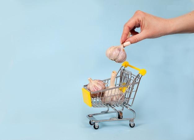 Une main féminine met une tête d'ail dans un panier de supermarché